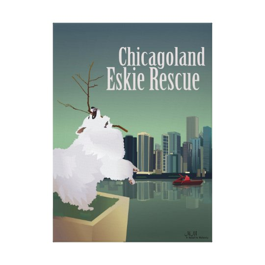 Chicagoland Eskie Rescue Stretched Canvas Print