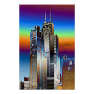 Chicago's Willis/Sears tower digital drawing Poster