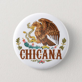 Chicana Mexico Coat of Arms 2 Inch Round Button