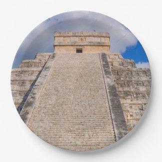 Chichen Itza Mayan Temple in Mexico 9 Inch Paper Plate
