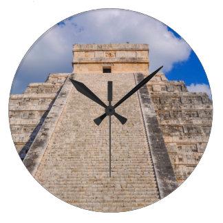 Chichen Itza Mayan Temple in Mexico Large Clock