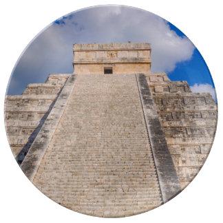Chichen Itza Mayan Temple in Mexico Plate