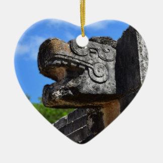 Chichen Itza Mexico Kukulkan Waxaklahun Ubah Kan Ceramic Heart Ornament