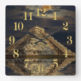 Chichen Itza Temple Famous Places - The Mayans Square Wall Clock
