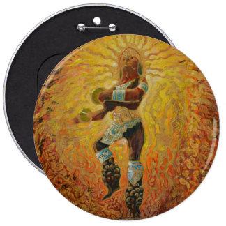 CHICHIMECA WARRIOR in fire 6 Inch Round Button