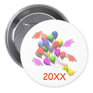 Chick and Balloons Kindergarten Graduation 3 Inch Round Button