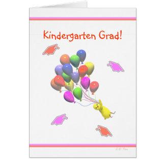 Chick and Balloons Kindergarten Graduation Card