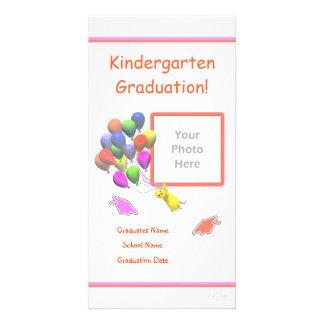 Chick and Balloons Kindergarten Graduation Photo Greeting Card