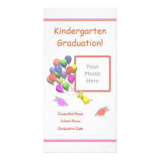Chick and Balloons Kindergarten Graduation Photo Greeting Card