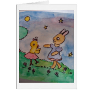 Chick and Rabbit Dancing Under the Stars Greeting Greeting Card