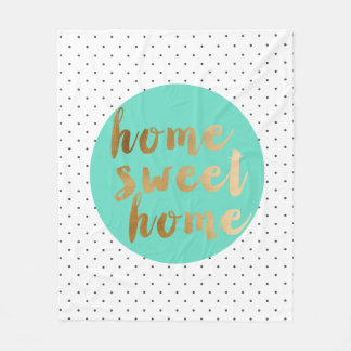 chick faux gold Home Sweet Home polka dots pattern Fleece Blanket