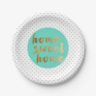 chick faux gold Home Sweet Home polka dots pattern Paper Plate