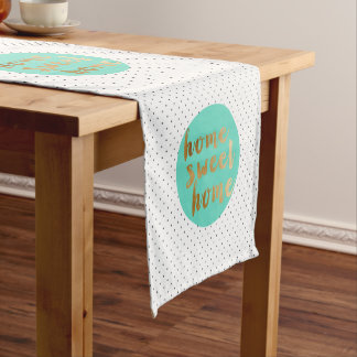 chick faux gold Home Sweet Home polka dots pattern Short Table Runner