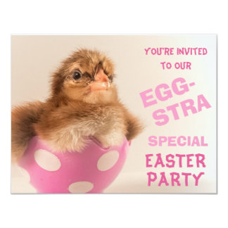 Chick in Egg Eggstra Special Easter Party Card