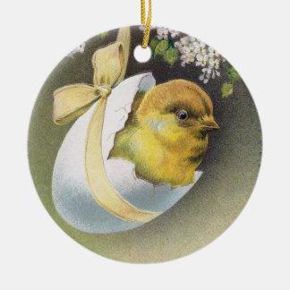Chick in Hanging Eggshell Vintage Easter Ceramic Ornament
