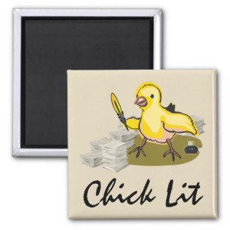 Chick Lit Writer with Paper and Feather Quill Square Magnet