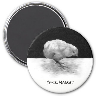 Chick Magnet, Humor, Funny, Guy Gift, Pencil Art 3 Inch Round Magnet