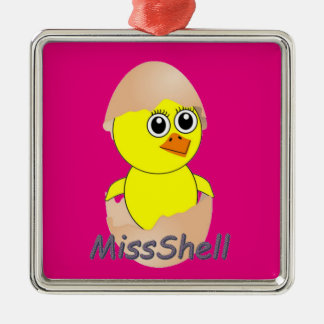 Chick  MissShell Silver-Colored Square Ornament
