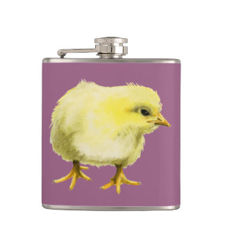 Chick Watercolor Painting Hip Flask