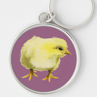 Chick Watercolor Painting Silver-Colored Round Keychain