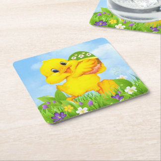 Chick with Easter Egg Square Paper Coaster