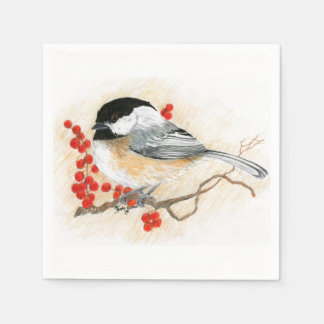 chickadee and red berries napkin paper napkins
