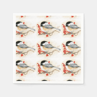 Chickadee and Redberries napkin Disposable Napkins