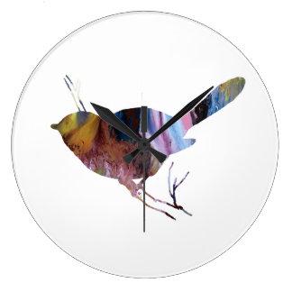 Chickadee art large clock
