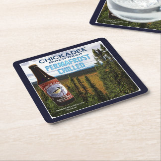 Chickadee Birch Beer Square Paper Coaster