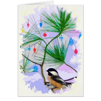 Chickadee Bird in Christmas Tree Card