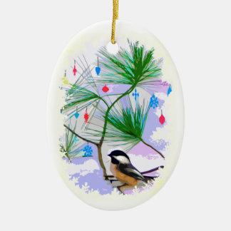 Chickadee Bird in Christmas Tree Ornament