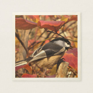 Chickadee Bird in Pink and Red Autumn Leaves Disposable Napkins