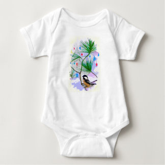 Chickadee Bird in Tree Baby Jersey Bodysuit