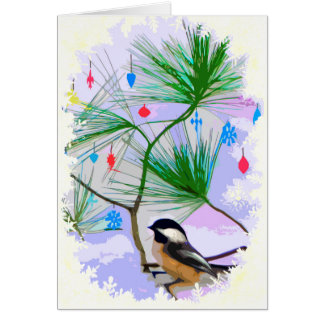Chickadee Bird in Tree Blank Card