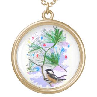 Chickadee Bird in Tree Necklace