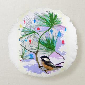 Chickadee Bird in Tree Round Pillow