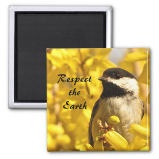 Chickadee Bird in Yellow Flowers Earth Day Magnet
