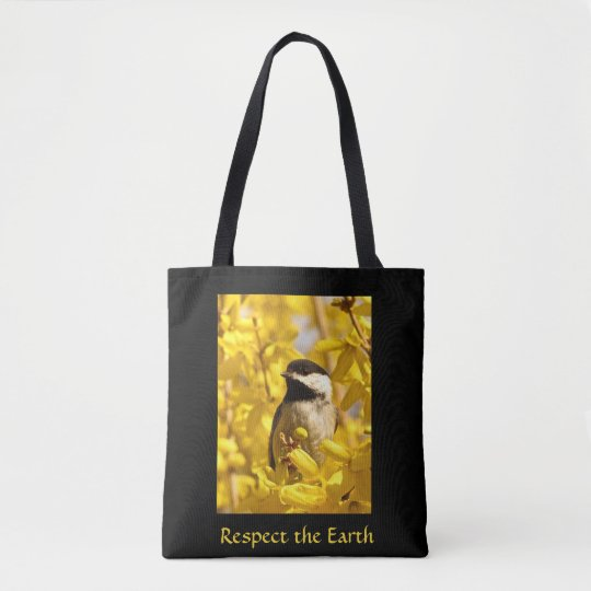 Chickadee Bird in Yellow Flowers Earth Day Tote Bag