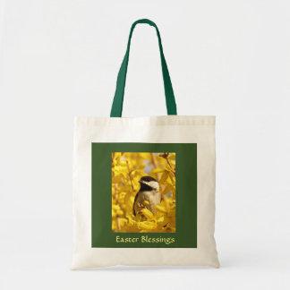 Chickadee Bird in Yellow Flowers Easter Bag