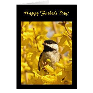 Chickadee Bird in Yellow Flowers Fathers Day Card