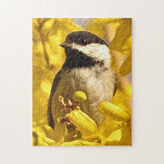 Chickadee Bird in Yellow Flowers Puzzle