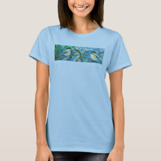 Chickadee Birds In Tree Watercolor Painting T-Shirt