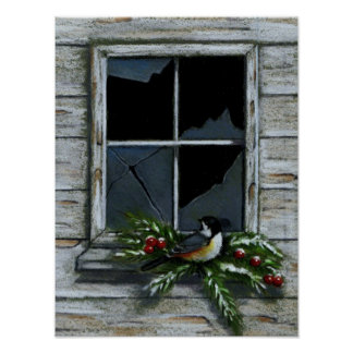 CHICKADEE: CHRISTMAS: OLD WINDOW POSTER