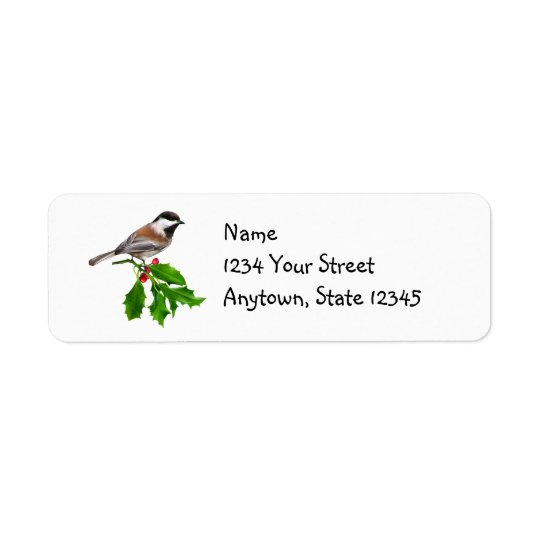 Chickadee Holly Address Labels