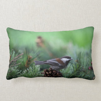 chickadee in a winter setting lumbar pillow