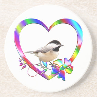 Chickadee in Colorful Heart Coaster
