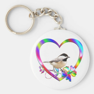 Chickadee in Colorful Heart Keychain