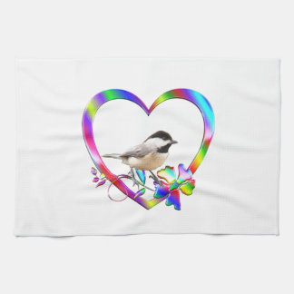 Chickadee in Colorful Heart Kitchen Towel