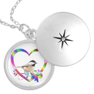 Chickadee in Colorful Heart Locket Necklace