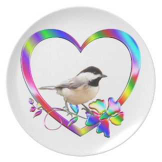 Chickadee in Colorful Heart Plate